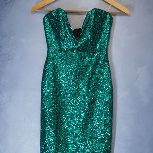 NYE sequin bustier bodycon dress
